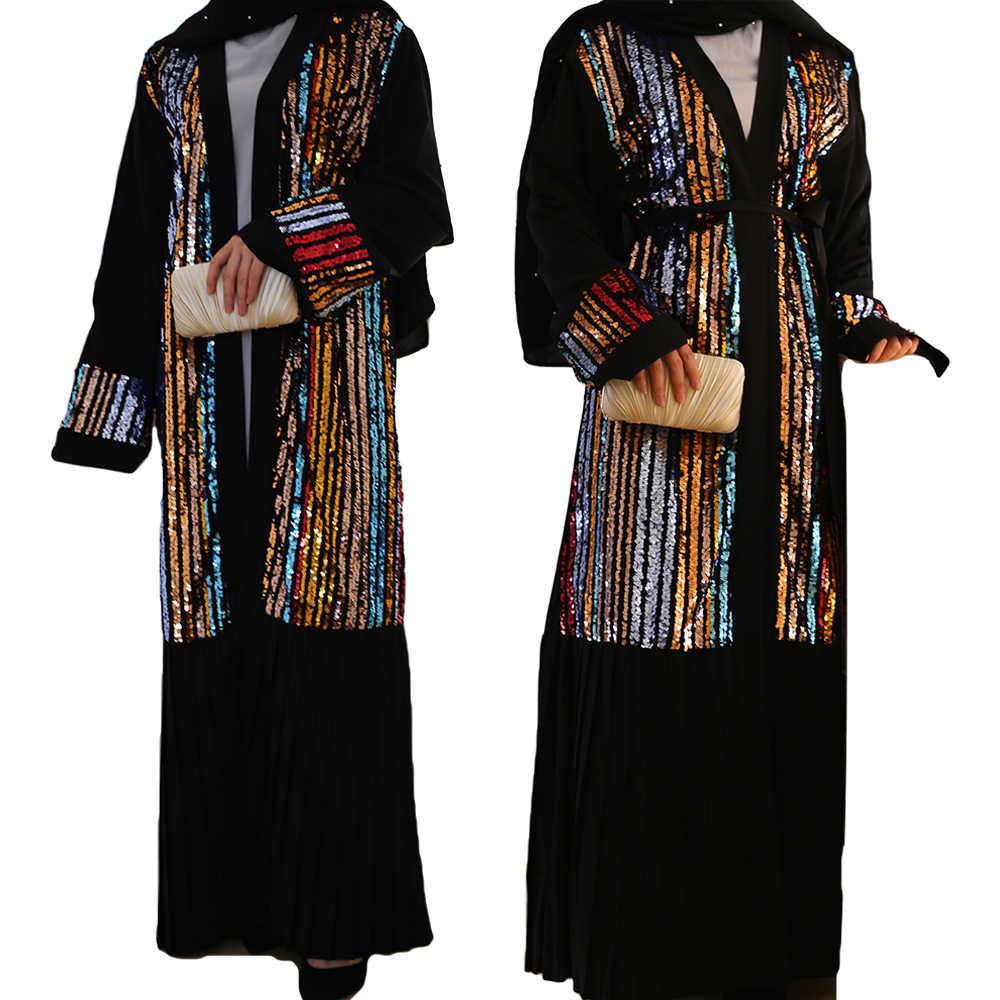 Ramadan Abaya Dress Muslim Women Maxi Kaftan Gown Jilbab Robe Dubai Party Caftan