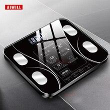 AIWILL весы для ванной со светодиодным экраном для тела, электронные весы, весы для анализа композиции тела, весы для здоровья, умный дом