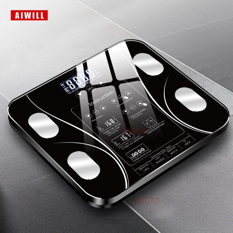 AIWILL balances de salle de bain écran LED graisse corporelle balance de poids électronique analyse de la Composition corporelle balance de santé maison intelligente