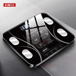 Báscula de baño AIWILL Báscula de baño de pantalla LED báscula corporal báscula electrónica de peso análisis de composición corporal báscula de salud hogar inteligente