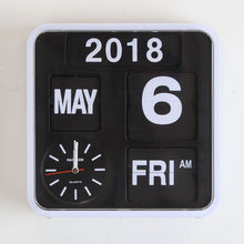 Reloj de pared decoración de sala de estar Retro Digital Flip Clock página creativo Reloj de pared decoración del hogar Auto Calendario Flip Clock BB45W(China)