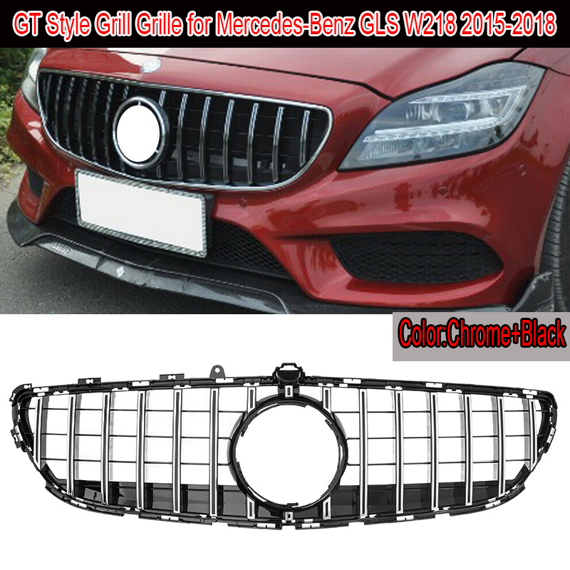 MagicKit GT Vertical Style <font><b>Grills</b></font> For Mercedes Benz CLS Class <font><b>W218</b></font> Chrome Front Grille CLS300 CLS350 CLS450 CLS500 2015-2018 image