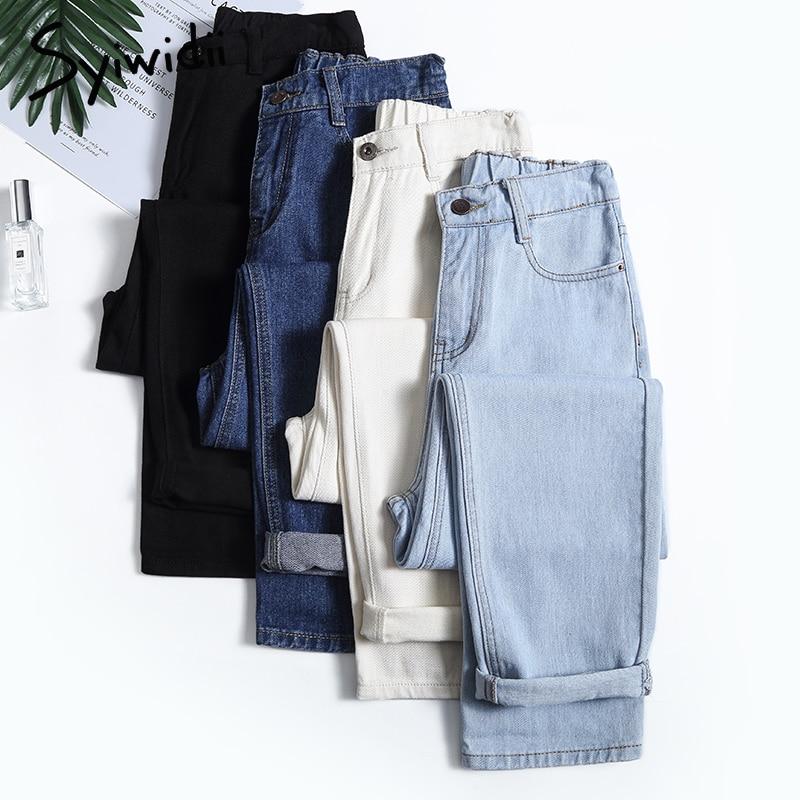 Vaqueros mom de 4 colores para mujer, pantalones vaqueros de cintura alta de talla grande, pantalones vaqueros de estilo boyfriend para mujer, algodón lavado 2020