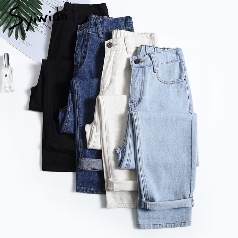 4 color mom jeans woman elastic waist high wais plus size denim Pants boyfriend jeans for women Washed Cotton 2021 fashion new