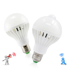 Led 램프 pir 적외선 모션/사운드 + 빛 센서 제어 e27 3w 5w 7w 9w 12w 자동 스마트 센서 화이트 lampada led 전구 빛