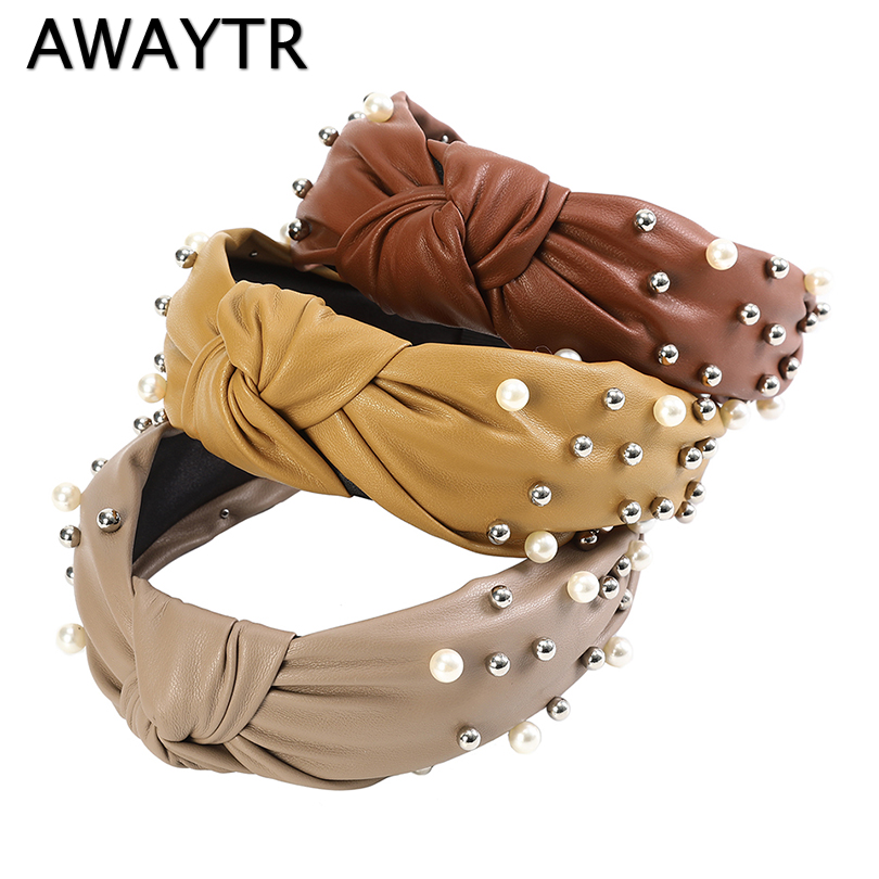 AWAYTR Fashion Leather Pearl Hairband Bow Knot Headband Lady Girls Hair Hoop Bands Hair Accessories For Women Headdress Hot Sale