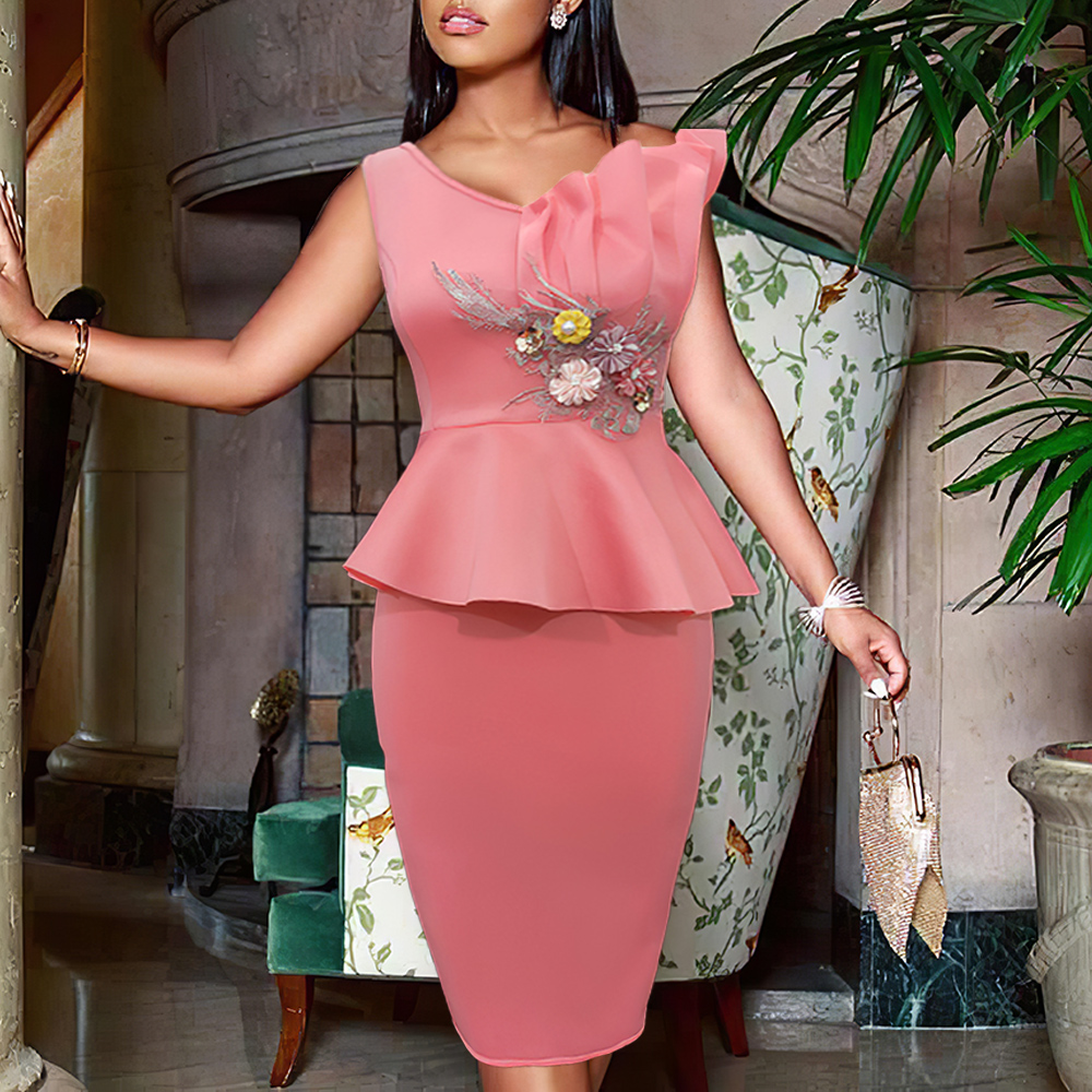 Sexy Bodycon Dress Ruffles Party One Shoulder With Appliques Flower Women Vestido African Sleeveless Event Celebrate Occassion