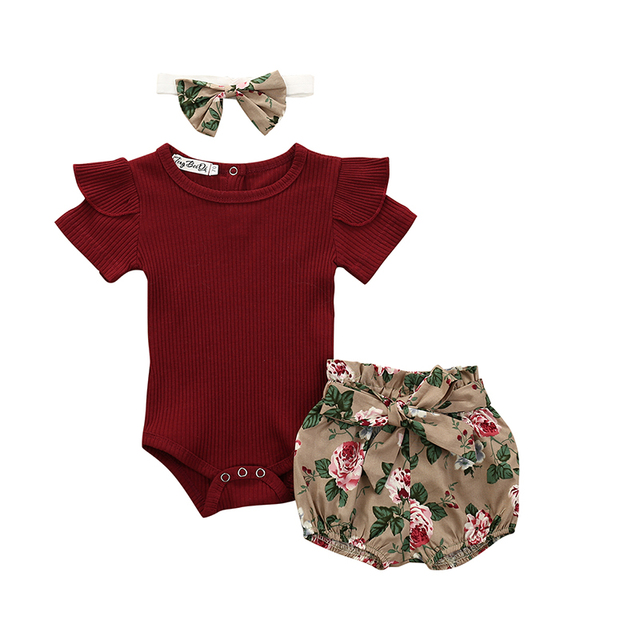 Baby Girl's Romper Shorts Hairband Summer Set 2