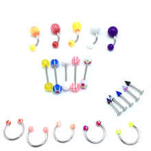 20Pcs/Set Mix Acrylic Stainless Steel Eyebrow Navel Belly Lip Tongue Ring Nose Bar Rings Body Piercing Jewelry Wholesale mix lot wholesales 80pcs stainless steel eyebrow piercing belly button rings naval ear nose rings lip tongue body jewelry gold