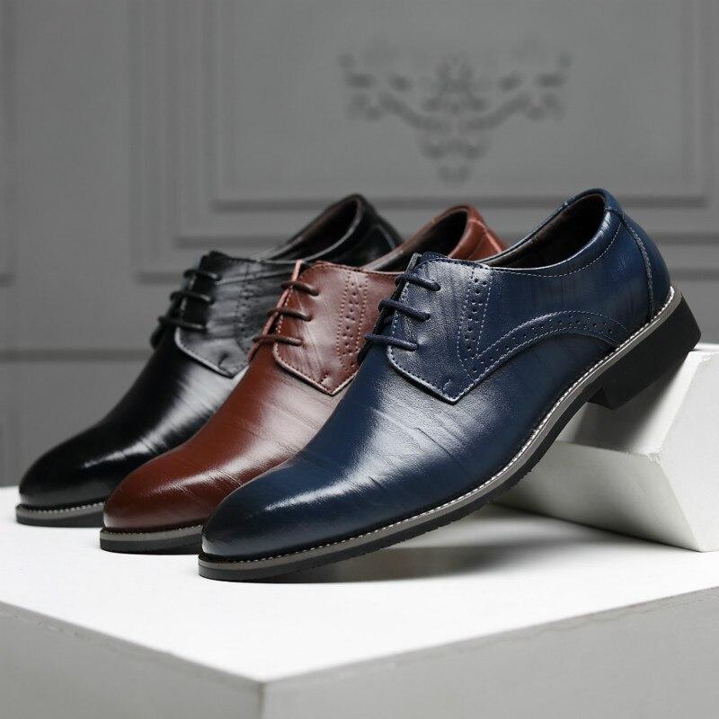 Image 2 - Reetene 革イタリアポインテッドトゥメンズドレスシューズレースアップウェディングパーティー靴男性クラシックレザーメンズスーツ男性オックスフォード正式な靴   -