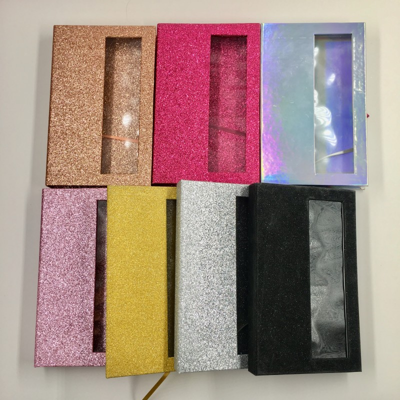 Empty Lash Book With Tray 6pcs/lot Holographic Gold Pink Glitter Custom Eyelashes Packaging