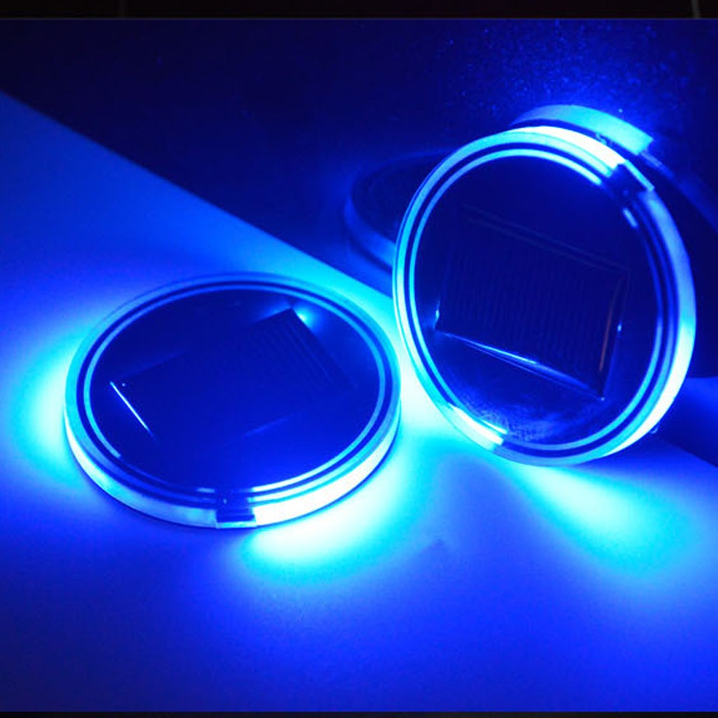 2x for PEUGEOT LED Car Cup Holder Pad Mat Automobiles Atmosphere Lights Colorful