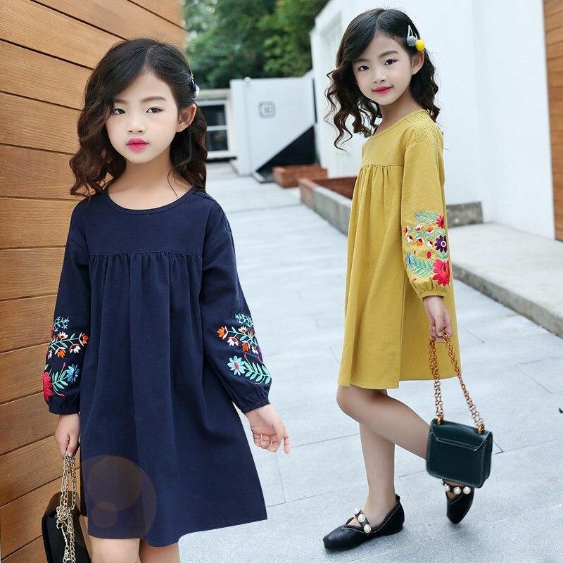 Платье для девочек подростков осенне весеннее корейское платье принцессы с длинными рукавами и вышивкой для девочек, 5 От 6 до 16 лет