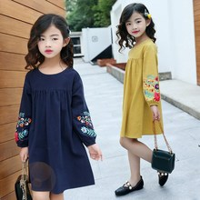 Teen Girls Dress Long Sleeve Fall Spring Korean Embroidery Kids Princess Dress for Girl 5 6 7 8 9 10 11 12 13 14 15 16 Year цена
