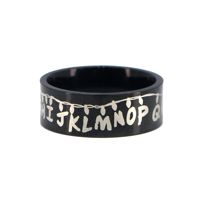 K386 2019 TV Stranger Things Rings for Men Stainless Steel Ring Black Silver Male Finger Rings Jewelry Accessories Gifts For Men in Rings from Jewelry Accessories