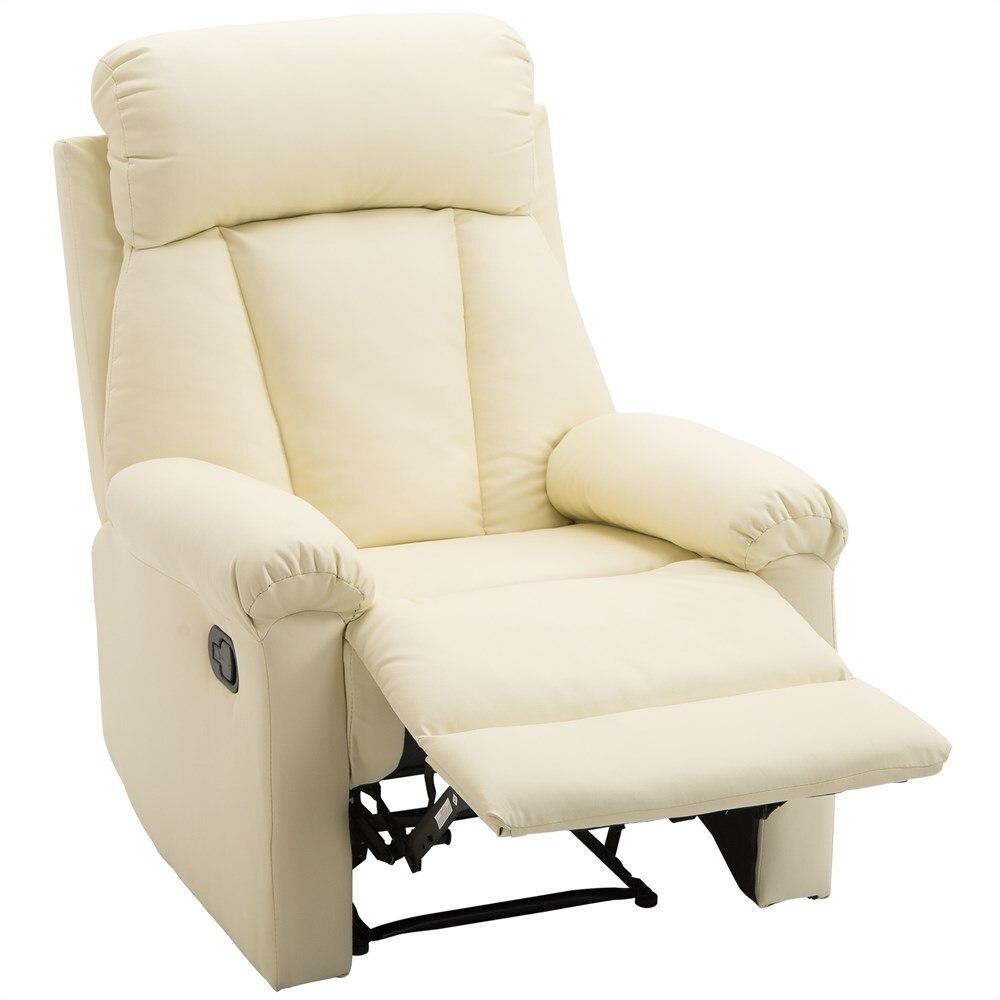 HOMCOM מרופד ארגונומי כיסא להירגע כורסה עם הדום פו עור 80 × 97 × 107 cm קרם