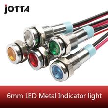 6mm LED Metal gösterge ışığı 6mm su geçirmez sinyal lambası 6V 12V 24V 220v tel kırmızı sarı mavi yeşil beyaz 6ZSD.X