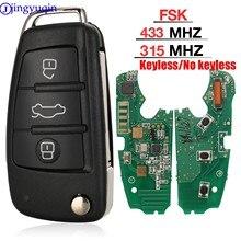 Jingyuqin MQB clé à distance Semi intelligente 3 boutons pliant clé de voiture intelligente 315Mhz ou 433Mhz pour Audi A6 A6L