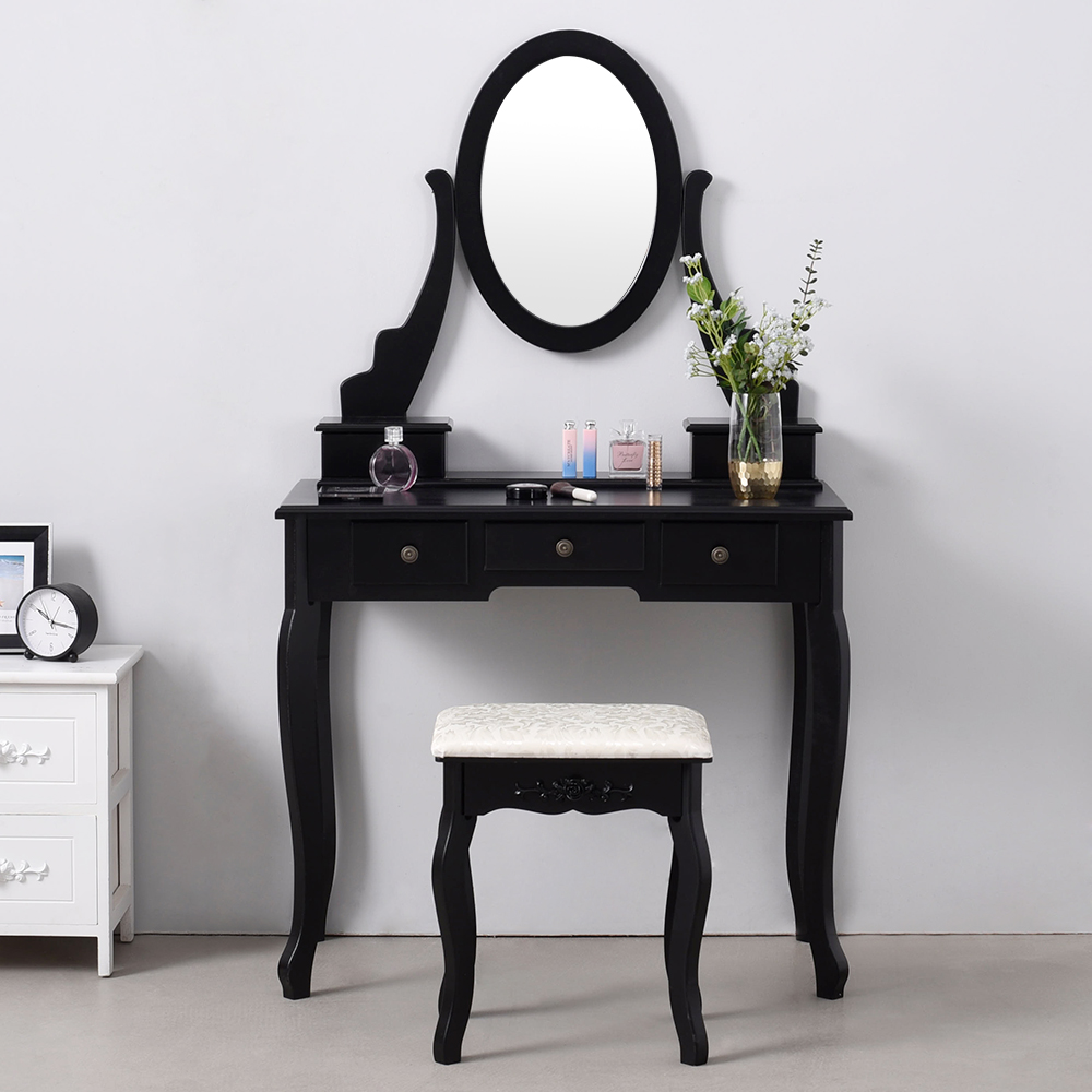 Panana Luxury Wooden Dressing Table Makeup & Stool Mirrors Jewellery Cabinet 4 Drawers 360° Spinning Mirror