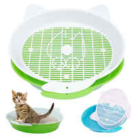 Katzenstreu Box mit Tray Matte Kunststoff Pet Katze Kaninchen Pee Wc für Katzen Sichten Katzenstreu Box Pee Pad fach Pet Trainer Reinigung