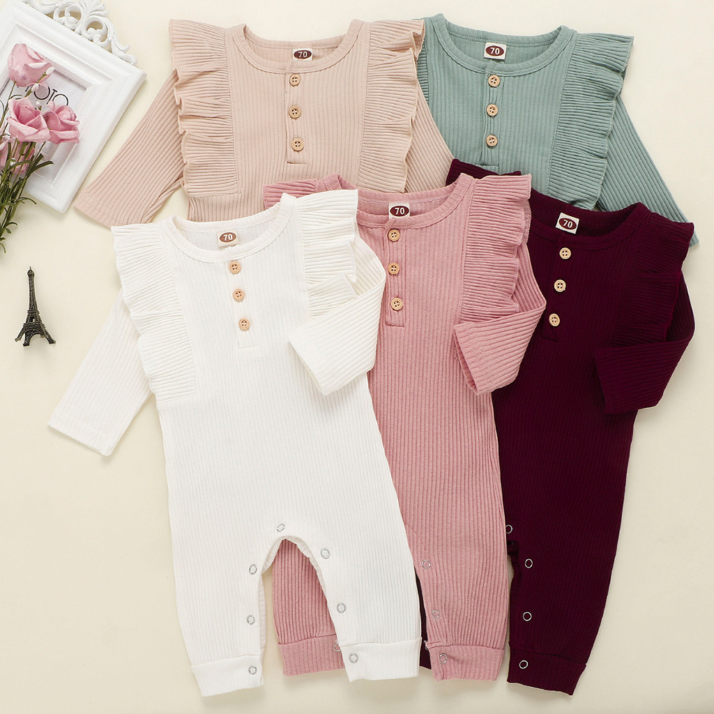 2020 Baby Spring Summer Clothing Newborn Baby Girl Boy Ribbed Clothes Knitted Cotton Romper Baby Jumpsuit Solid Girls Outfits