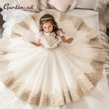 Gold Lace Applique First Communion Dresses Short Sleeves Top Lace Flower Girl Dress Lace Applique Skirt Girl Pageant Dresses lace applique lantern sleeve cold shoulder top