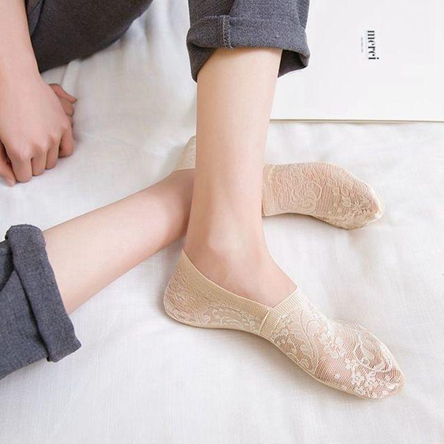 Women Girls Summer Style Lace Flower Short Sock- Antiskid Invisible Ankle Socks  5