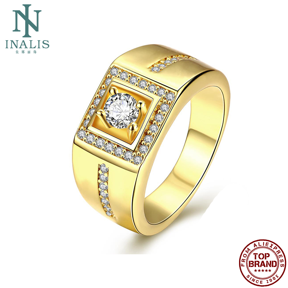 INALIS Rings For Men Gold Plated Inlay Geometric Cubic Zirconia Rings Simple Gentleman Style Engagement Wedding Fashion Jewelry