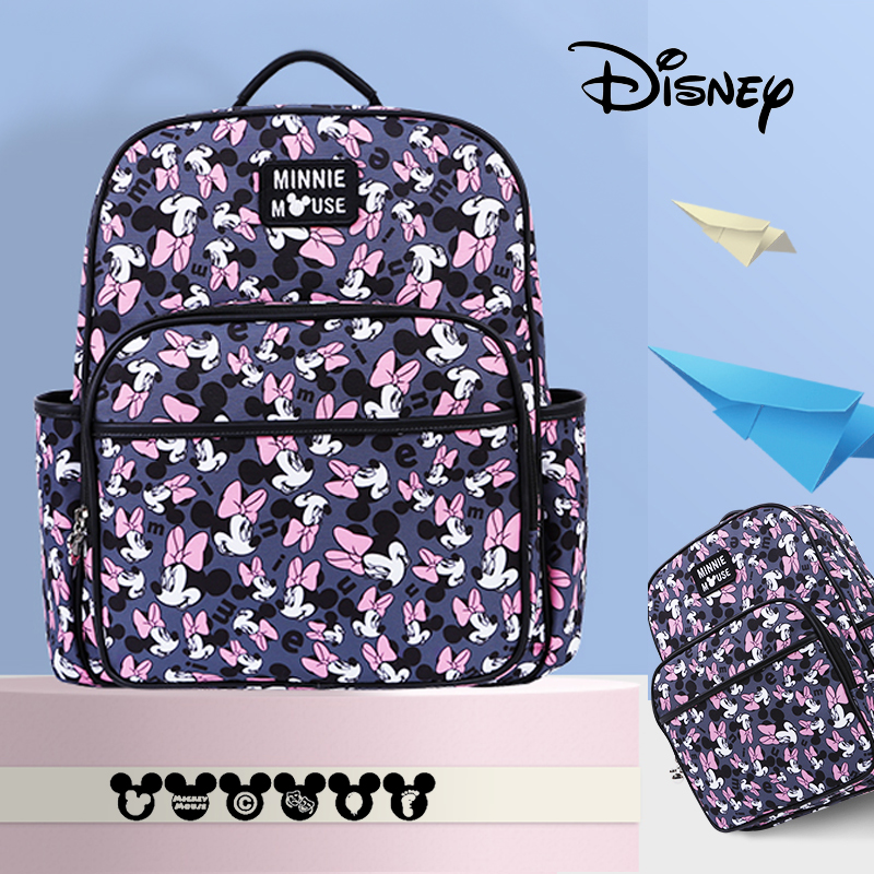 Disney Cute Mini Minnie Mickey Diaper Bag Backpack Nappy Bag For Baby Care Large Capacity Waterproof Mummy Handbag USB Heating