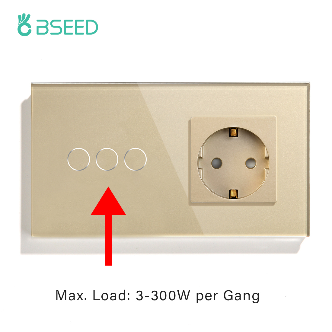 BSEED EU Standard 3Gang Light Touch Switch Wall Socket 300W Low Power Touch Screen Switch Power Outlets Crystal Glass Panel