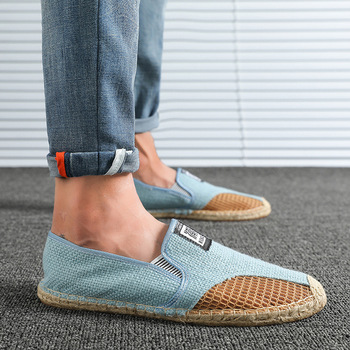 Men Driving Shoes Casual Weave Mens Straw Shoes Loafers Slip on Travel Shoes Men Luxury Brand Espadrilles Big Size 39-45 1