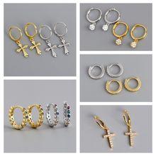 1 pair Hoop Small Earrings For Women Simple Fine Rhinestone Earrings Jewelry Delicate 100% 925 Sterling Silver Round Earring A30 pair of chic rhinestone hoop earrings for women