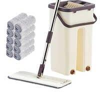 Esfregão de mão-livre do aperto liso e da cubeta que torce o mop molhado ou seco da limpeza do assoalho uso mágico automático da rotação que limpa o mop preguiçoso