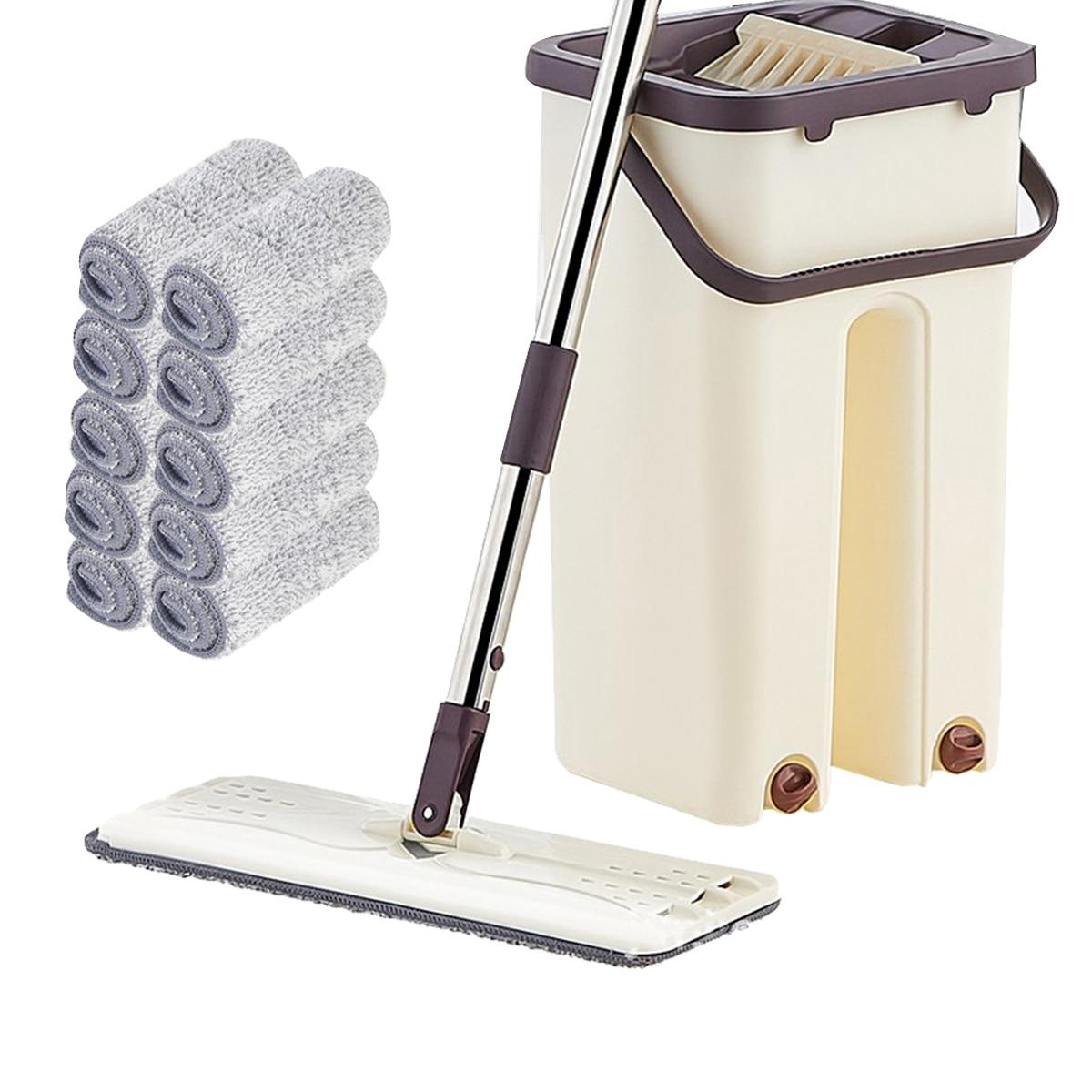 Vadrouille à presser plate et au seau, nettoyage de sol à main sans, vadrouille de nettoyage de sol humide ou sèche, vadrouille à rotation automatique magique, vadrouille à nettoyage automatique