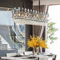 Modern crystal chandelier lighting black rectangle lustre design led chandeliers for living room kitchen bedroom lamps