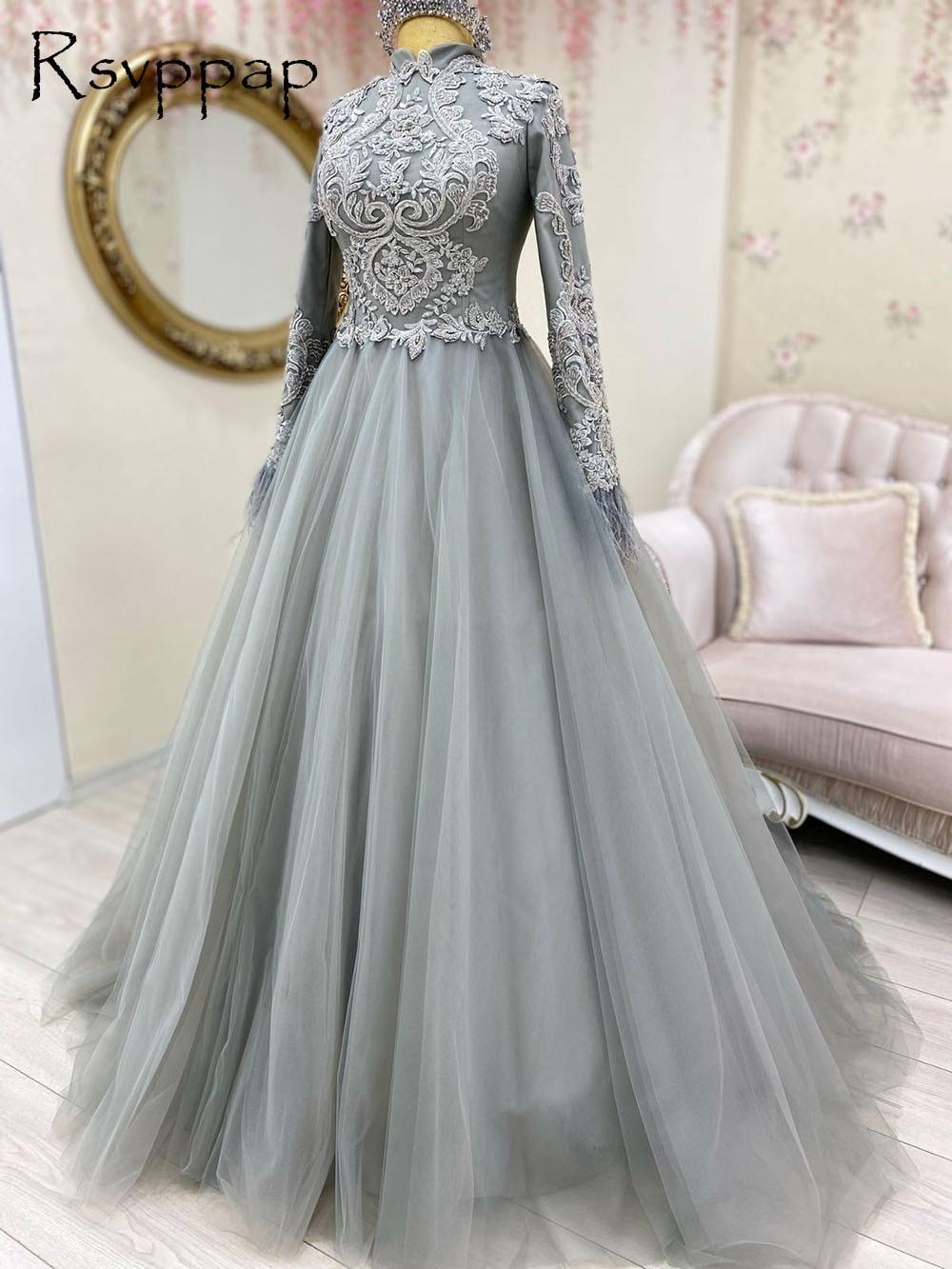 Elegant Long Evening Dress Dubai abaya 2021 High Neck Long Sleeve A-line Celebrity Muslim Silver Women Formal Gowns