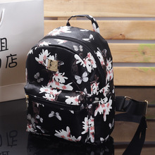 Fashion Female backpack Floral Printing Women Leather Backpack School Bags For Teenage Girls Lady Travel Small Backpacks