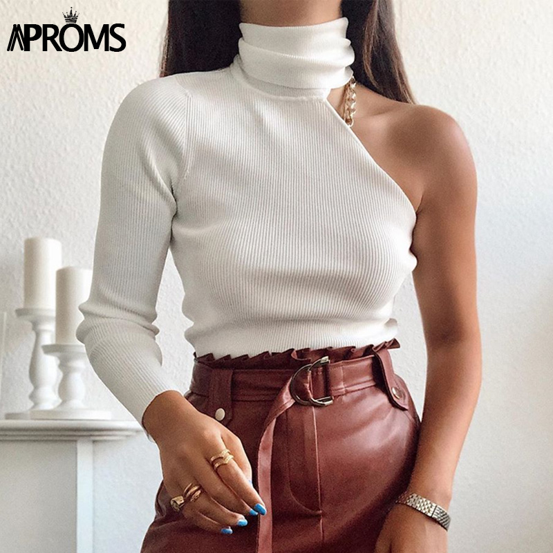 Aproms One Shoulder White Turtleneck Knitted Sweater Women High Street Long Sleeve Casual Pullover Female 2020 Spring Jumpers