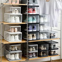 Transparent Shoe Box Visual Shoe Box Sneaker Storage Shoe Box Thick Dustproof Shoe Cabinet Stackable Drawer Display Cabinet