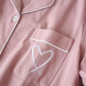 Image 4 - Nhật Bản trái tim ngọt ngào 100% Đan Cotton Bộ đồ ngủ bộ nữ thu đông nữ Casual đồ ngủ dài tay chất lượng pyjamas nữ