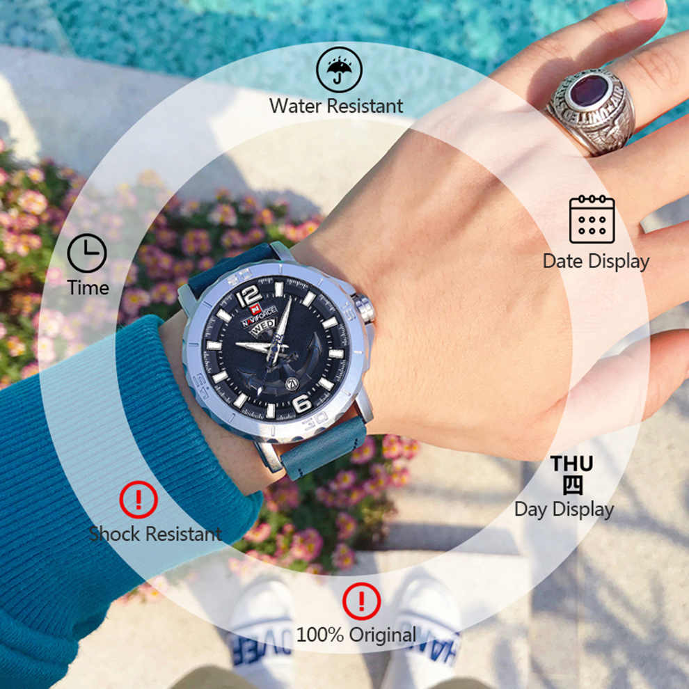 H50e0fbbc77e64b2388416275ee31673et Top Luxury Brand NAVIFORCE Mens Sport Watches Casual Leather Strap Waterproof Military Quartz WristWatch Clock Male Reloj Hombre