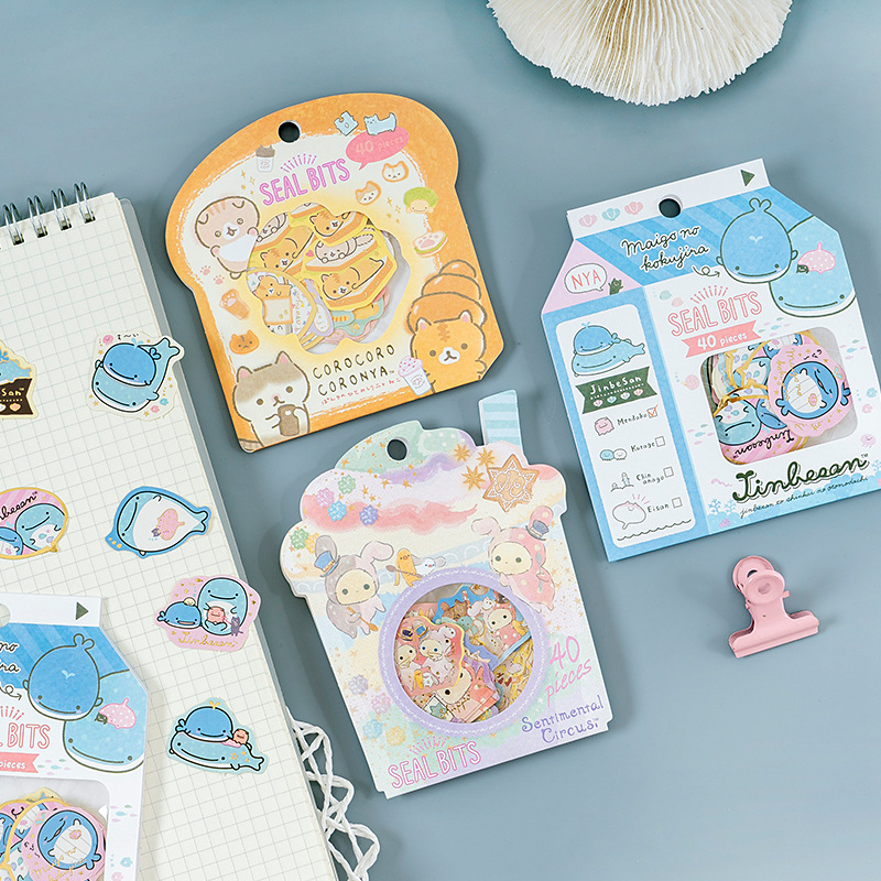 Cute Bread Cat Shark Whale Bullet Journal Decorative Washi Stickers Bag Scrapbooking Stick Label Diary Stationery Album Stickers