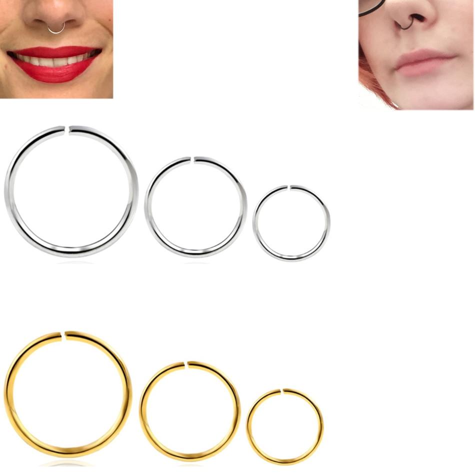 1PC Steel 20G Dainty Faux Nose Rings Fake Septum Rings Hoop Piercing Nostril