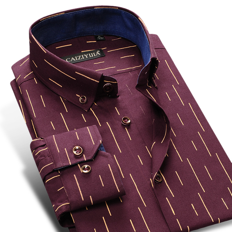 Men's Fashion Long Sleeve Striped Printed Oxford Shirts High Quality Comfortable Standard-Fit Button-down Casual Thick Shirt