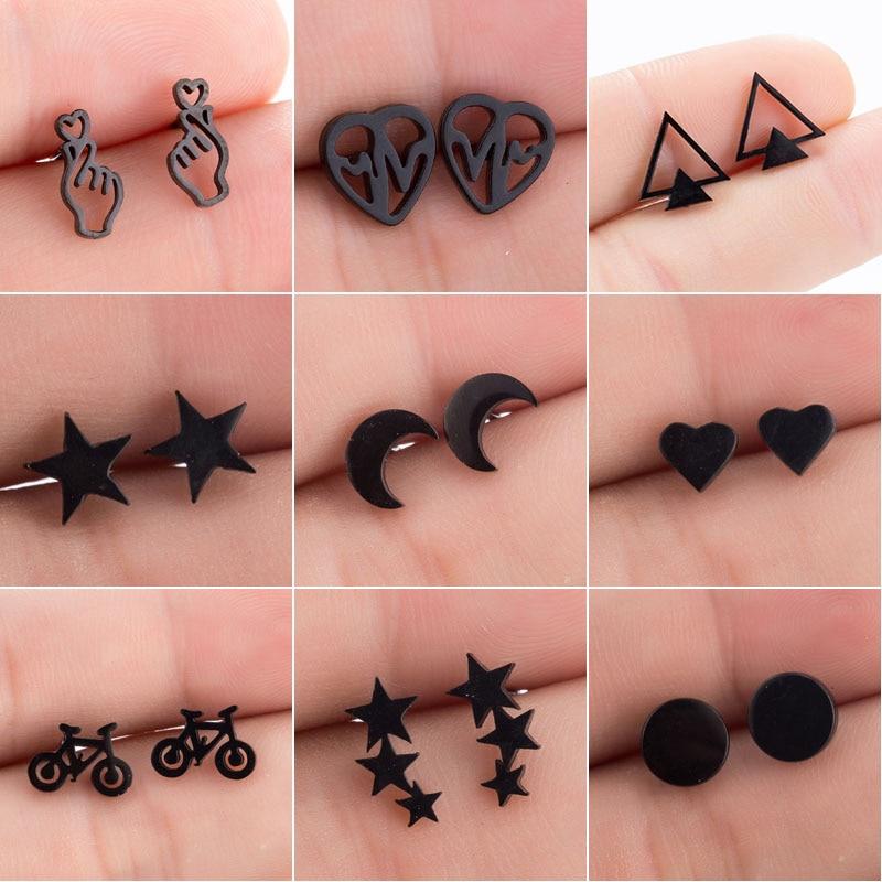 SMJEL Stainless Steel Earrings Geometric Women Men Hip hop Black Star Moon Stud Earring Fashion Jewelry Best Gift for Friend