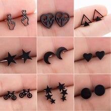 SMJEL – boucles d'oreilles géométriques en acier inoxydable, pour femmes et hommes, Hip hop, étoile noire, lune, bijoux à la mode, meilleur cadeau pour ami