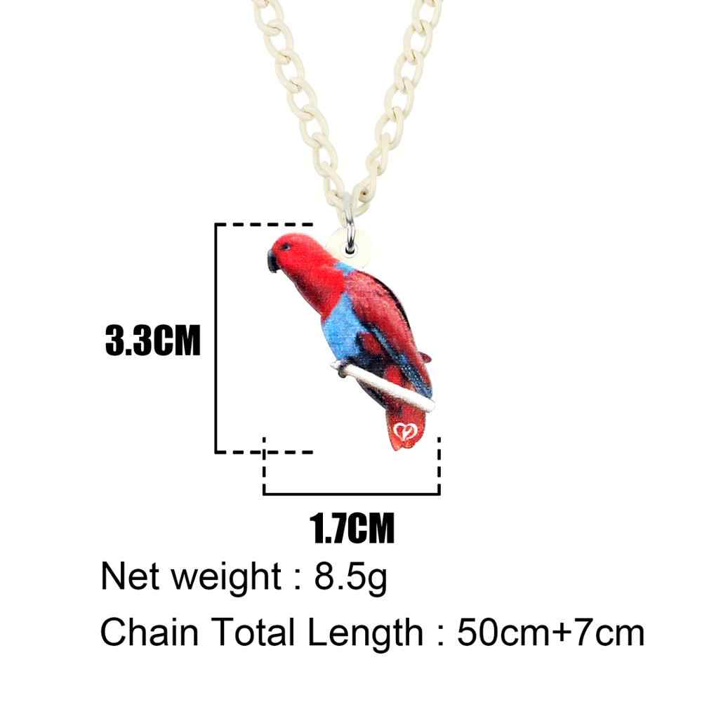 Bonsny Acrylic อะนิเมะ Eclectus Parrot นกสร้อยคอจี้หวานสัตว์เครื่องประดับสาววัยรุ่น Charms ของขวัญร้อน 2019 ออกแบบใหม่
