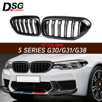 For BMW 5 Series G30 G31 G38 F90 Carbon Fiber Kidney Grill Grille 2018+ Dual Line Gloss Balck Grills