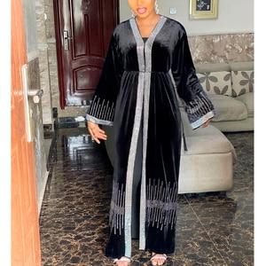 MD Muslim Kimono Abaya Cardigan Women Open Abayas Black Velvet Hijab Dress Dubai Turkish Kaftan Robe Plus Size Moroccan Boubou