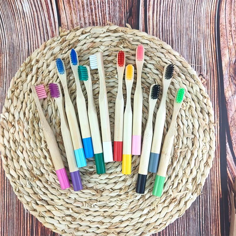 10 шт., детские деревянные бамбуковые зубные щётки